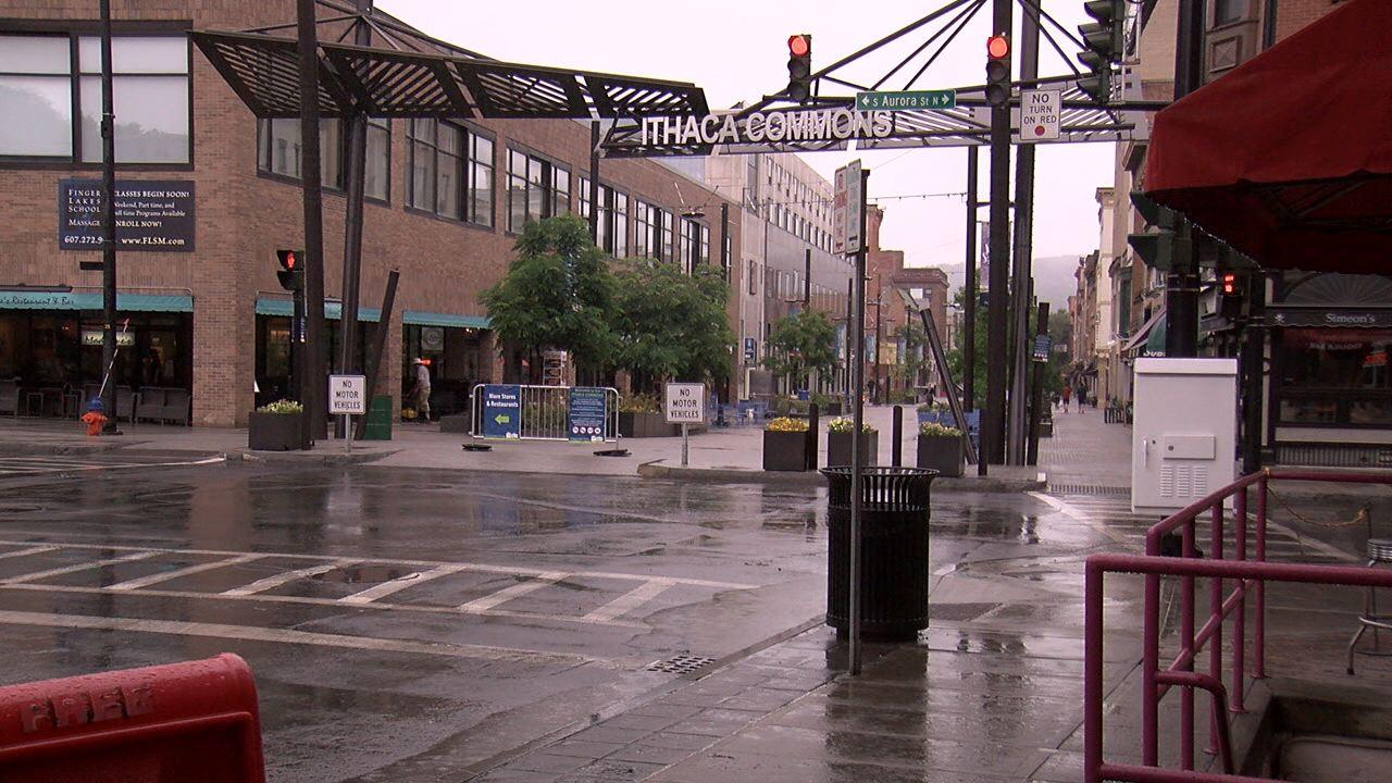 Ithaca Commons rainy day