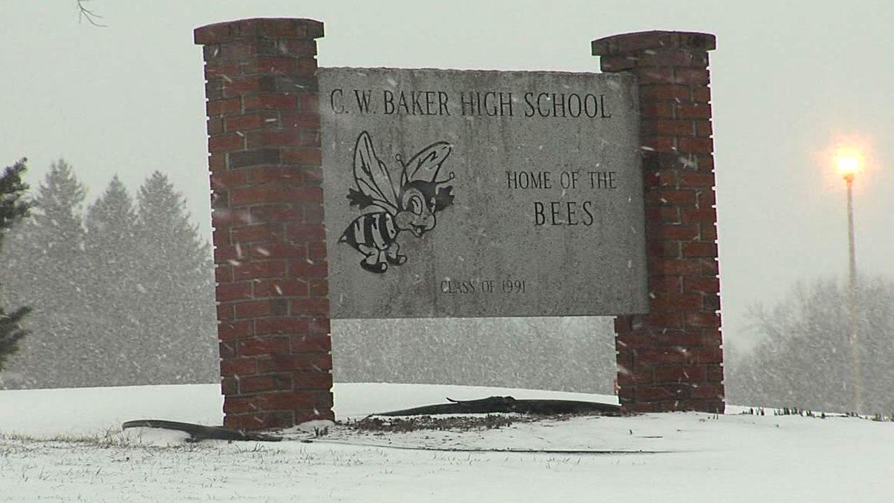 Baker High School Baldwinsville Sign snow RPS_1520215769750.jpg.jpg