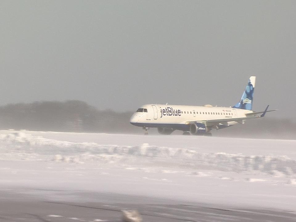 JetBlue at Hancock in winter