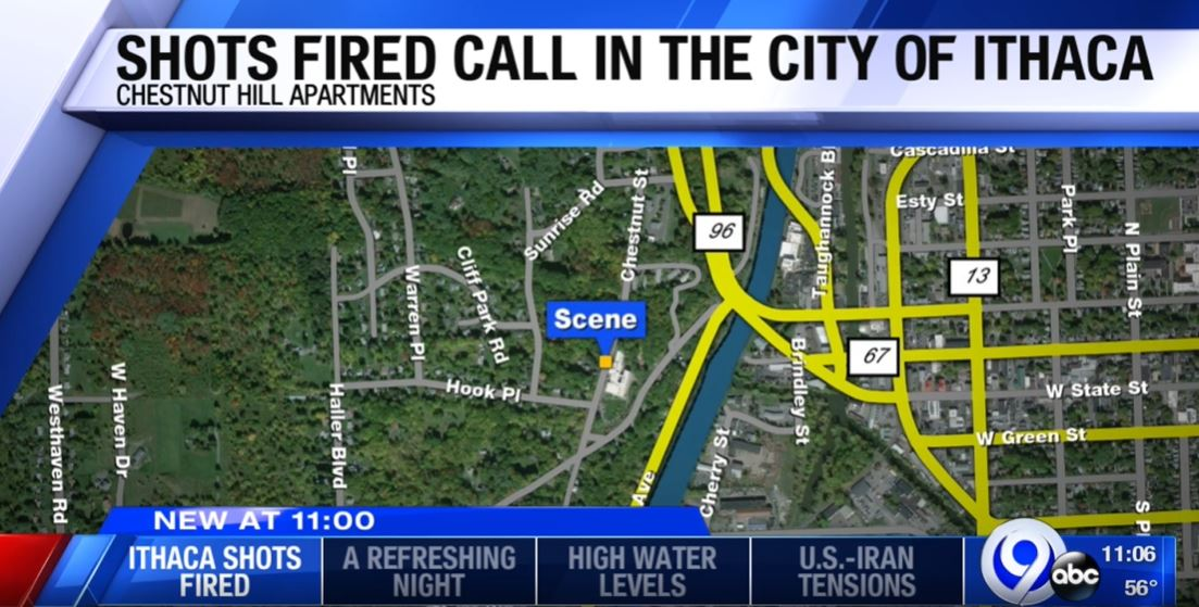Ithaca Police respond to calls of shots fired in the city