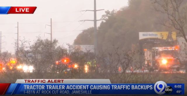Tractor trailer crash causing backups along I-481 north
