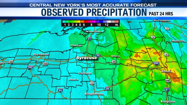STORM REPORT: Nor'easter dumps several inches of rain in CNY