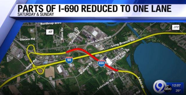Bridge work on 690 to reduce lanes this weekend