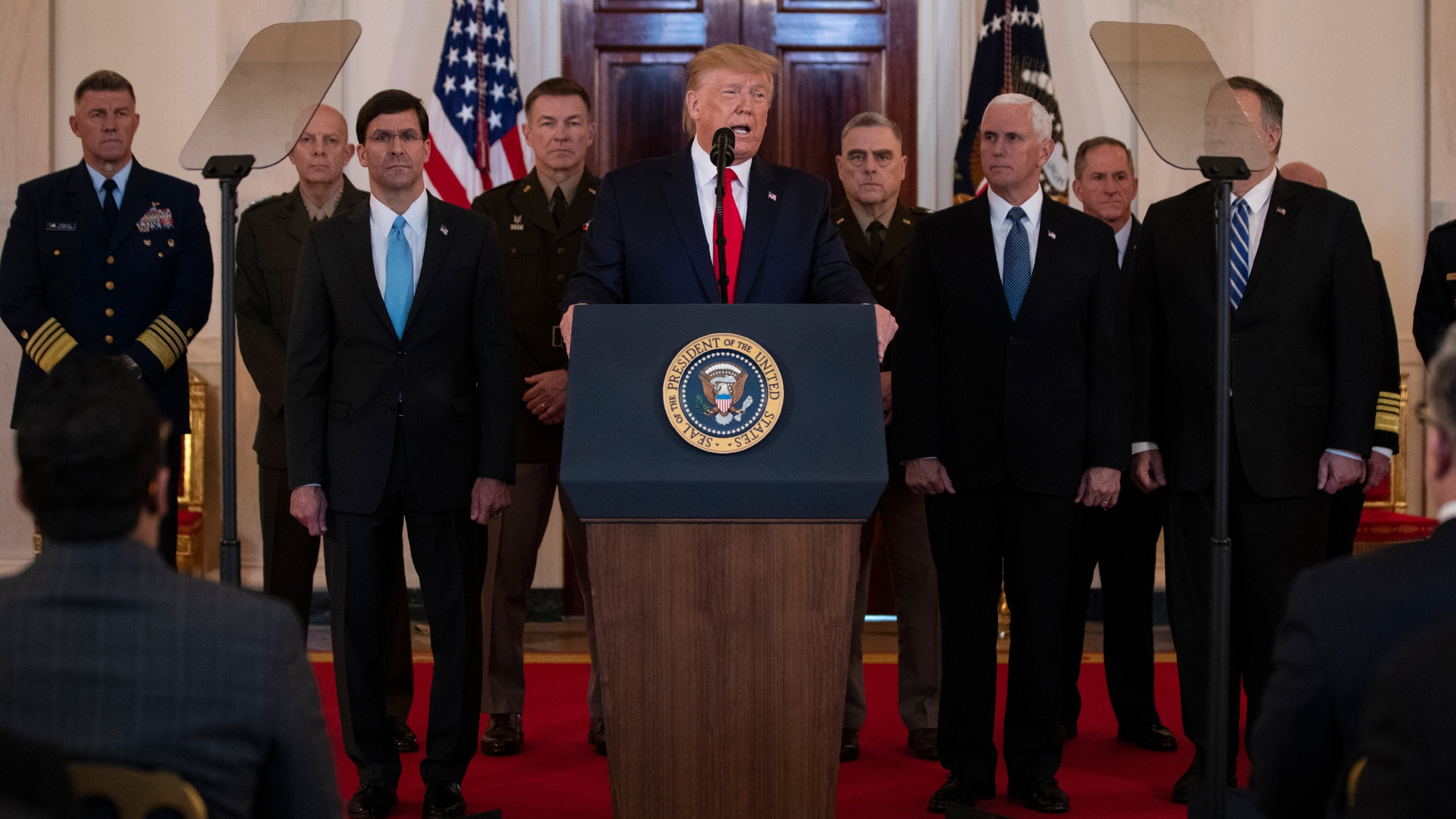 Donald Trump, Mark Esper, Mark Milley, Mike Pompeo