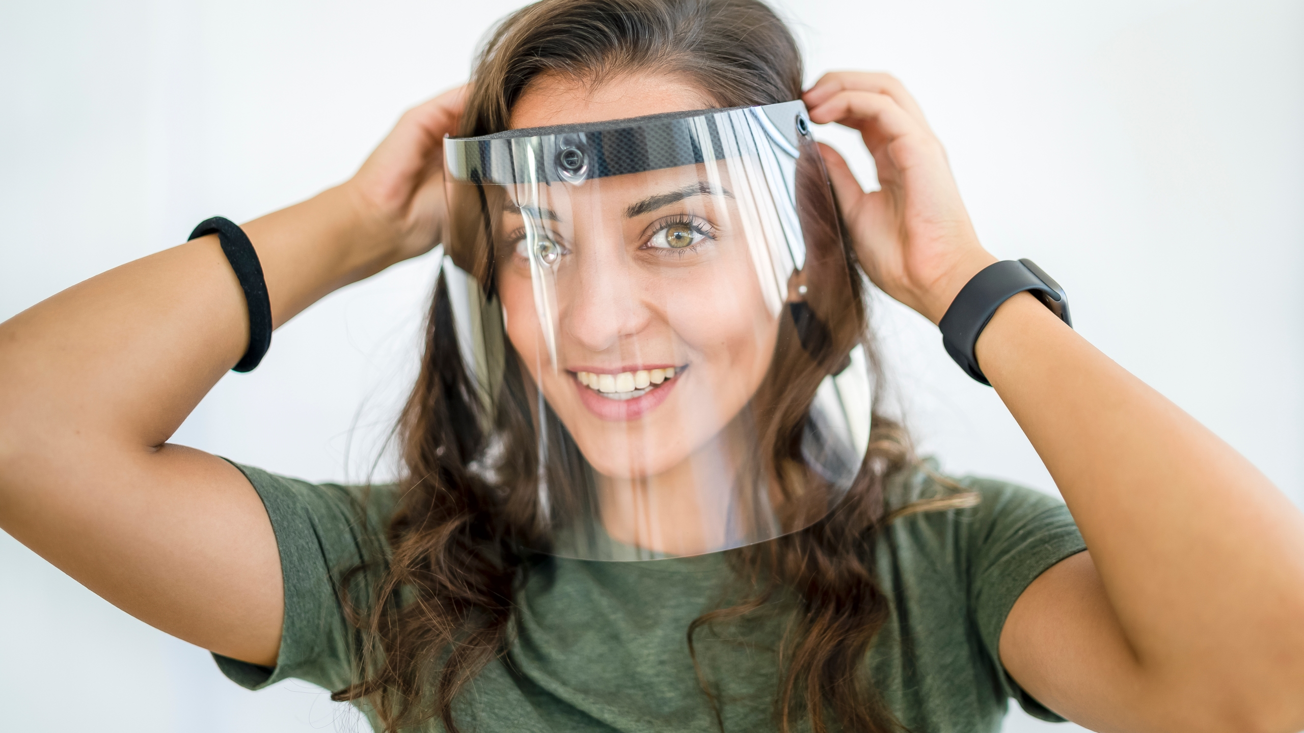 woman wearing face shield