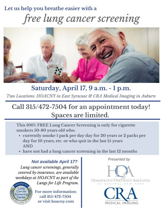 Cigarette smokers age 50 to 80 years old who currently smoke 1 pack per day for 20 years or 2 packs per day for 10 years or who quit in the last 15 years and have not had a lung cancer screening in the last 12 months. Call 315-472-7504 for an appointment.