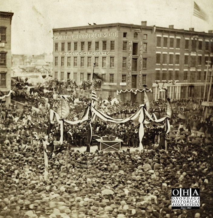 """President Lincoln's """"mock funeral"""" in Syracuse, New York."""